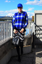 blue no name hat - white no name dress - blue asos sweater