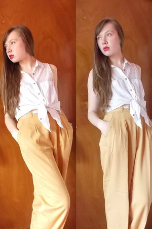 vintage pants - Forever 21 top - Forever 21 belt