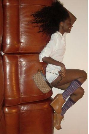 brown Zara shoes - beige Bershka blouse - brown Gucci accessories - blue H&M sho