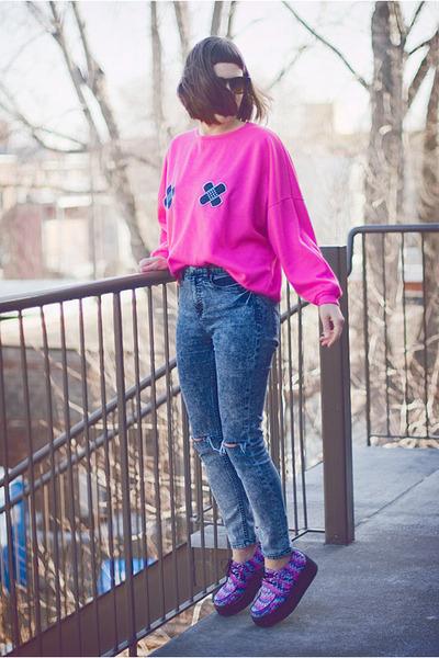 hot pink upcycled vintage sweatshirt