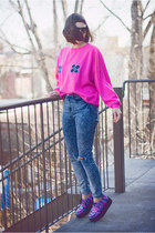 hot pink upcycled vintage sweatshirt