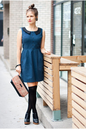 navy pockets Birds of North America dress - black wedges second hand shoes