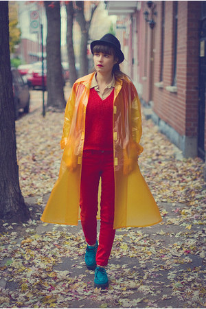 yellow vynil vintage coat