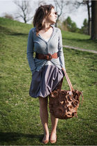 silver Gap dress - blue Zara cardigan - brown chocolate belt - brown purse - bro