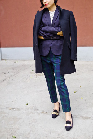 dark gray Zara blazer - teal Zara pants - black Zara loafers