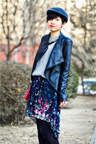 navy floral print Zara dress