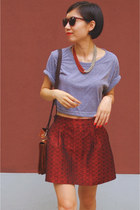 brick red Sisley skirt - heather gray American Apparel top