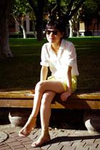 white Massimo Dutti shirt - yellow Mango shorts