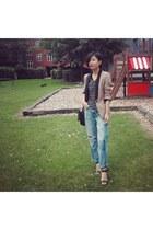 camel Zara blazer - sky blue H&M jeans