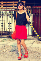 red Zara skirt - black Zara blouse