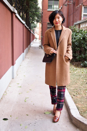 camel oversized Zara coat - ruby red tartan Mango pants