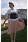 Polka-dot-moda-international-skirt-linen-blouse-satiny-corset-intimate