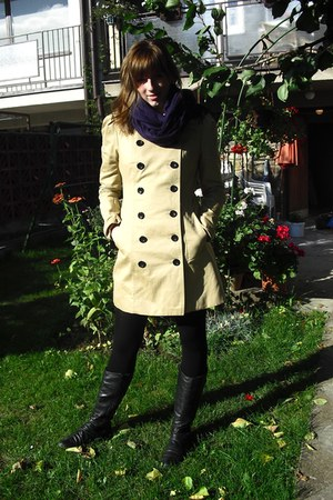 tan Amisu coat - black deichman boots - magenta scarf - black H&M stockings