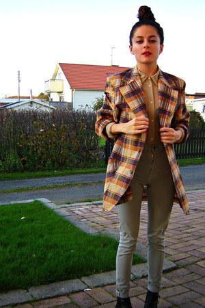 mustard chequered eOvu vintage jacket