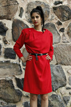 red 1980s handmade eOvu vintage dress