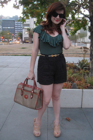 quail bodysuit - Forever 21 shorts - vintage belt - vintage purse - Steve Madden
