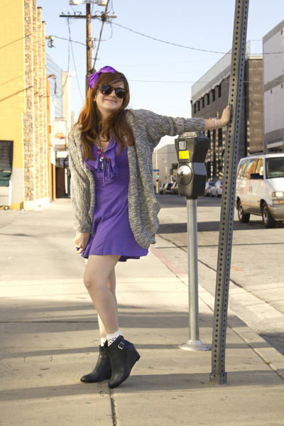 COS boots - modcloth necklace - vintage romper - modcloth cardigan