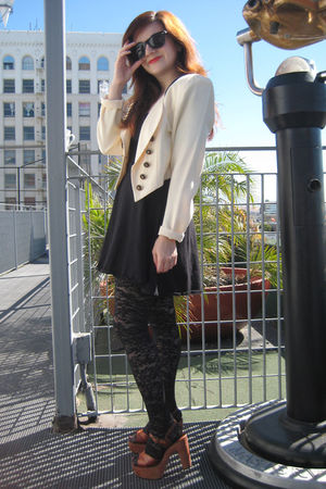 vintage jacket - asos dress - Urban Outfitters tights - vintage platforms shoes