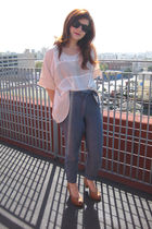 Forever 21 blouse - Forever 21 pants - Miu Miu shoes - topshop bodysuit intimate