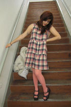 wonder twins dress - asos tights - vintage shoes - vintage coat