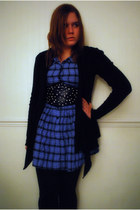 black Primark cardigan - blue Fairground  ASOS dress - black asos belt - black P