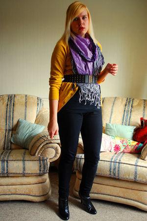 gold Primark cardigan - purple Primark scarf - black Primark jeans - black H&M b