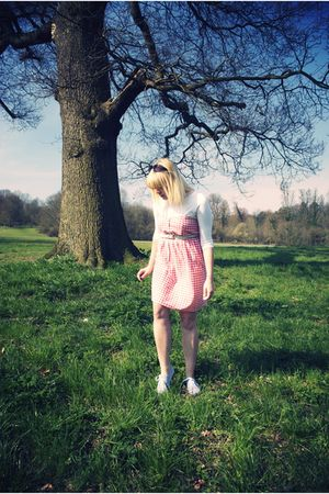 pink Primark dress - white unknown top - green Primark belt - gray Primark shoes