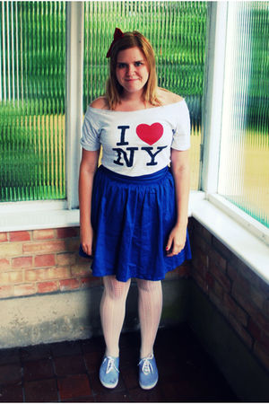 blue H&M skirt - gray DIYed by me t-shirt - white Primark tights - gray Primark