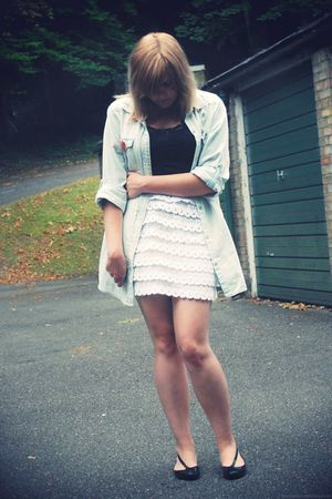 blue Primark shirt - white Boohoocom skirt - black Urban Outfitters shoes