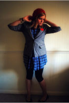 gray Primark blazer - blue Fairground  ASOS dress - black Primark shoes - orange