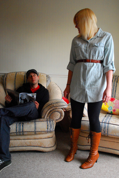 blue Primark shirt - black new look leggings - brown Clarks boots - brown vintag