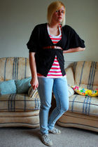 black new look cardigan - pink H&M t-shirt - blue Primark jeans - brown vintage