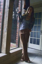 blue Gap jacket - gray aa t-shirt - brown unbranded pants - pink GoJane shoes