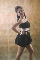 black Bazaar shorts - black cinderella top - brown Plains & Prints belt