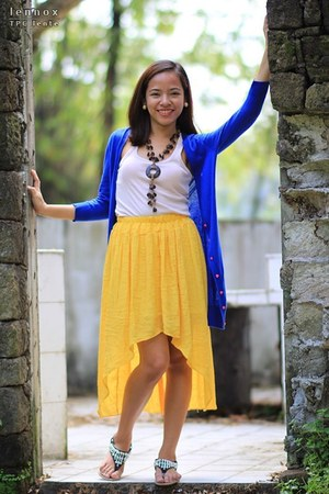 brown necklace - yellow DIY shirt - blue cardigan - light pink Mango top