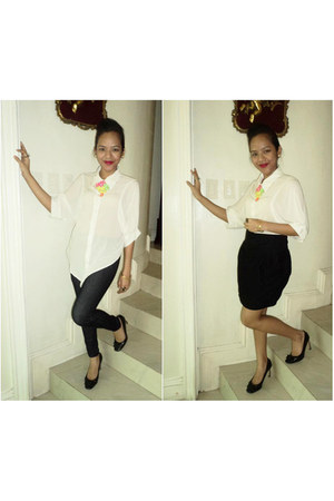 white top - black skirt - black Charles & Keith heels