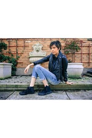 black H&M jacket - dark gray Converse shoes - sky blue Gap jeans