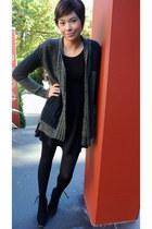 black Dolce Vita boots - black lbd Nordstrom dress