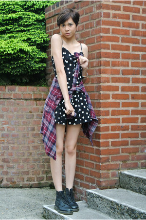 black doc martens boots - black daisy dress H&M dress