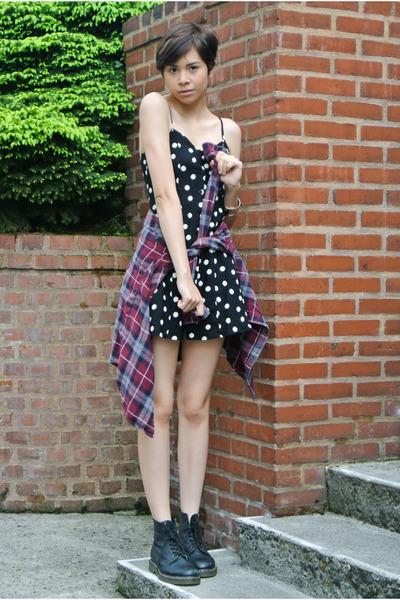 black doc martens boots - black daisy dress H&M dress