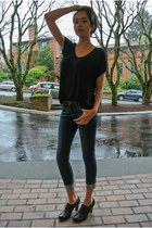 black wingtip heel Macys shoes - navy pilcro jean Anthropologie jeans