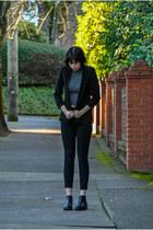 black Frye boots - black BDG jeans - black black blazer Necessary Objects blazer
