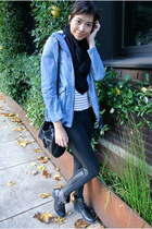 sky blue denim jacket Nordstrom jacket - black Nordstrom leggings