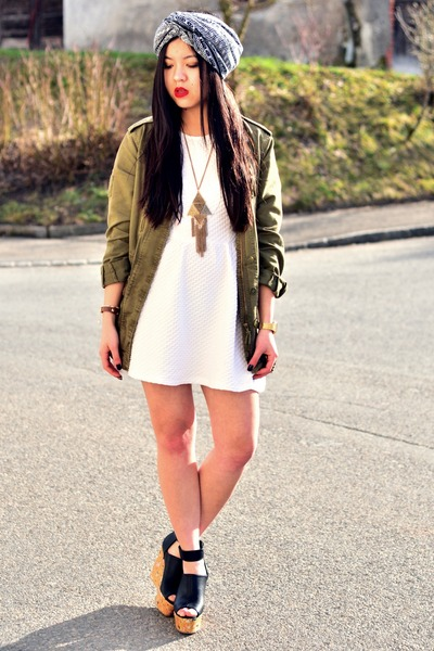 white skater dress H&M dress - olive green parka Zara jacket