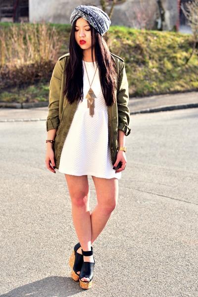 white skater dress H&M dress - olive green parka Zara jacket