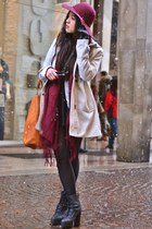 periwinkle wool H&M coat - crimson floppy hat H&M hat - crimson H&M scarf