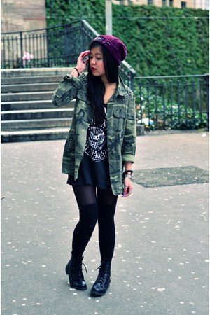 army green camouflage Zara jacket - black boots H&M boots