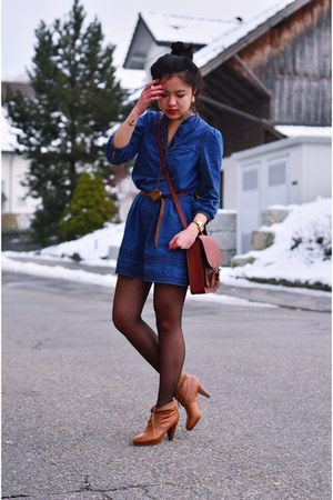 blue a line H&M dress - tawny school bag H&M bag - tawny lace up H&M heels
