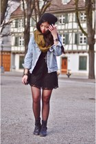 black biker H&M boots - black lace crochet H&M dress - black knitwear H&M hat