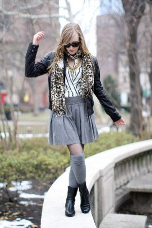black leather Urban 1972 jacket - heather gray madewell socks - white silk H&M b